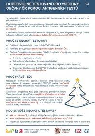 Informace o dobrovolném testování pro občany antigenními testy