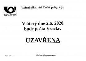 Pošta - 2. 6. 2020 zavřeno