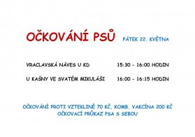 Očkování psů Vraclav a Sedlec 22. 5. 2020