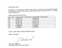 Změna otevírací doby pošty Vraclav 15. - 19. 10. 2021