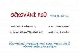 Očkování psů Vraclav a Sedlec 21. 5. 2021