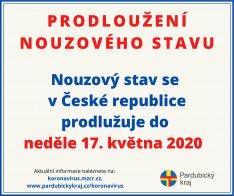 Prodloužení nouzového stavu v ČR do 17. 5. 2020