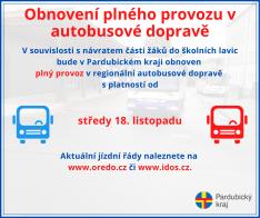 Obnovení autobusové dopravy od 18. 11. 2020 v Pardubickém kraji