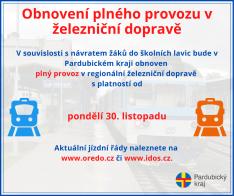Obnovení železniční dopravy od 30. 11. 2020 v Pardubickém kraji